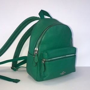 Coach Charlie backpack  green leaf leather